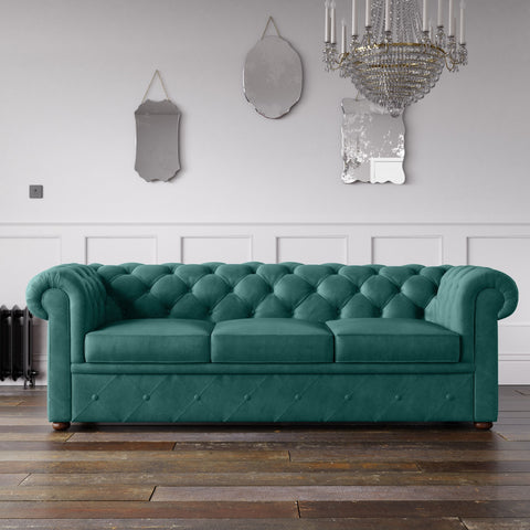 Chesterfield Malia Velvet Sofa Aqua