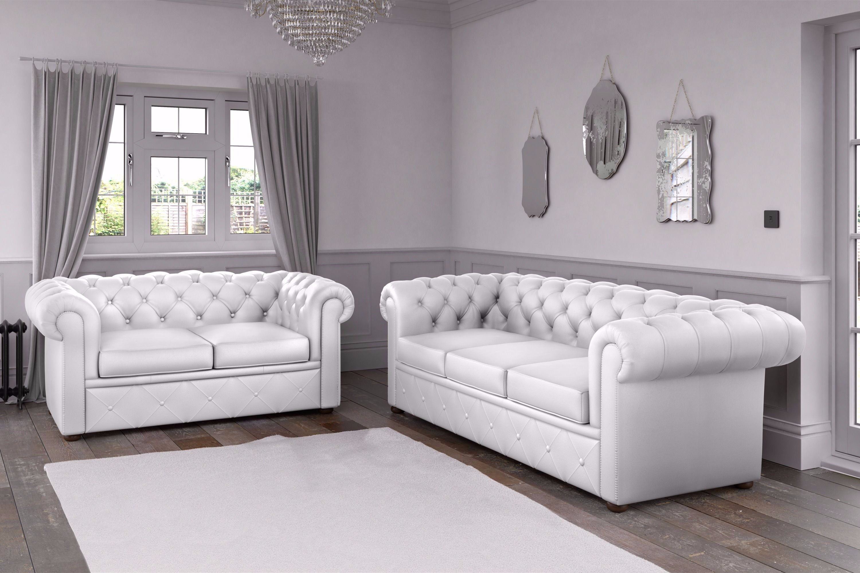 Chesterfield Faux Leather Sofa White