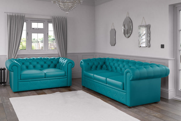 Chesterfield Faux Leather Sofa Turquoise