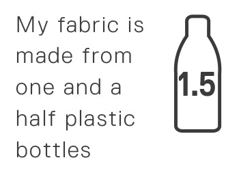 My fabric is made from one and a half plastic bottles.
