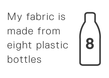 My fabric is made from eight plastic bottles.