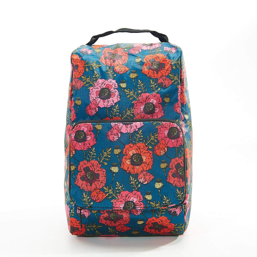 Eco Chic Royal Blue Eco Chic Foldable Boot Bag Poppies