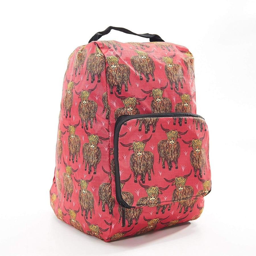 Eco Chic Eco Chic Foldable Boot Bag Red Highland Cow