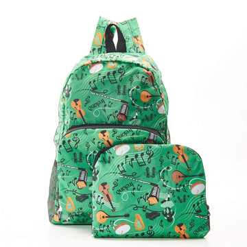 Eco Chic Green Eco Chic Lightweight Foldable Backpack Irish Music