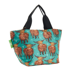 Eco Chic Eco Chic Sac à lunch pliable léger Highland Cow