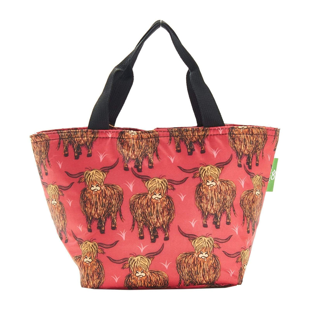 Eco Chic Rouge Eco Chic Sac à lunch pliable léger Highland Cow