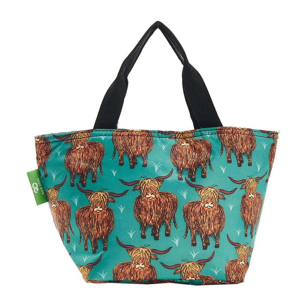 Eco Chic Sarcelle Eco Chic Sac à lunch pliable léger Highland Cow