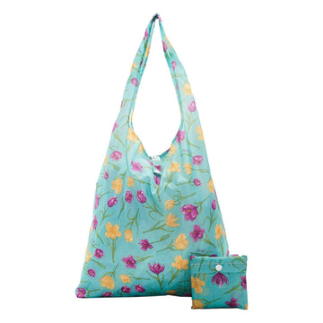 Eco Chic Blue Eco Chic Lightweight Foldable Reusable Shopping Bag Crocus