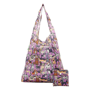Eco Chic Lilac Eco Chic Lightweight Foldable Reusable Shopping Bag Dogs