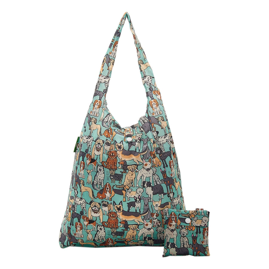 Eco Chic Teal Eco Chic Lightweight Foldable Reusable Shopping Bag Dogs