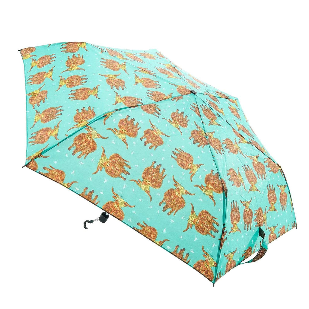Eco Chic Eco Chic Mini Paraguas Teal Highland Cow