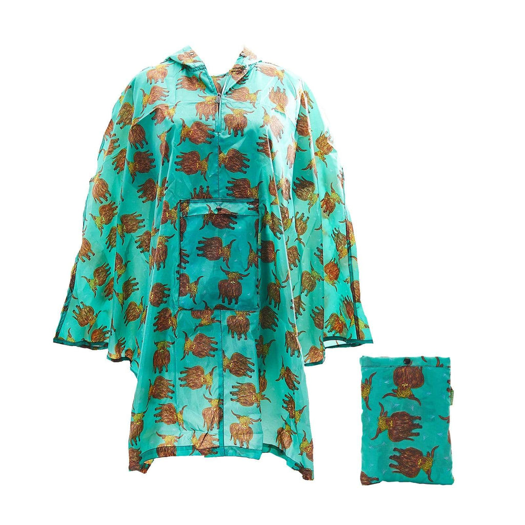 Eco Chic Poncho adulto plegable impermeable Teal Highland Cow