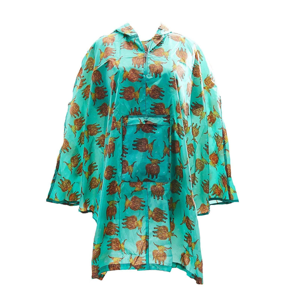 Eco Chic Eco Chic Poncho adulto plegable impermeable Teal Highland Cow