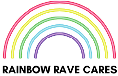 Rainbow Rave Cares Logo - a program from Rainbow Rave Shop where 10% of profits is donated to LGBT, nonprofit organizations.