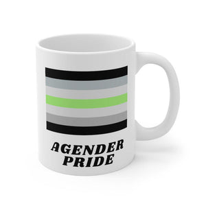 Agender Pride mug featuring the agender flag design on a white, 11oz ceramic mug from Rainbow Rave Shop.