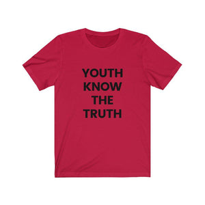 Inspirational t shirt 'Youth Know the Truth' from Rainbow Rave Shop. Red tee shirt with black writing.