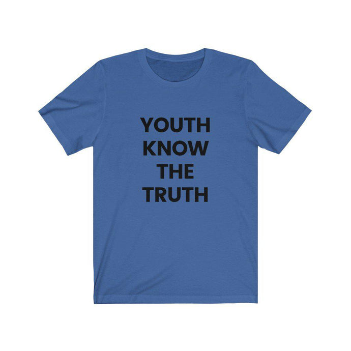 Inspirational t shirt 'Youth Know the Truth' from Rainbow Rave Shop. Light blue tee shirt with black writing.
