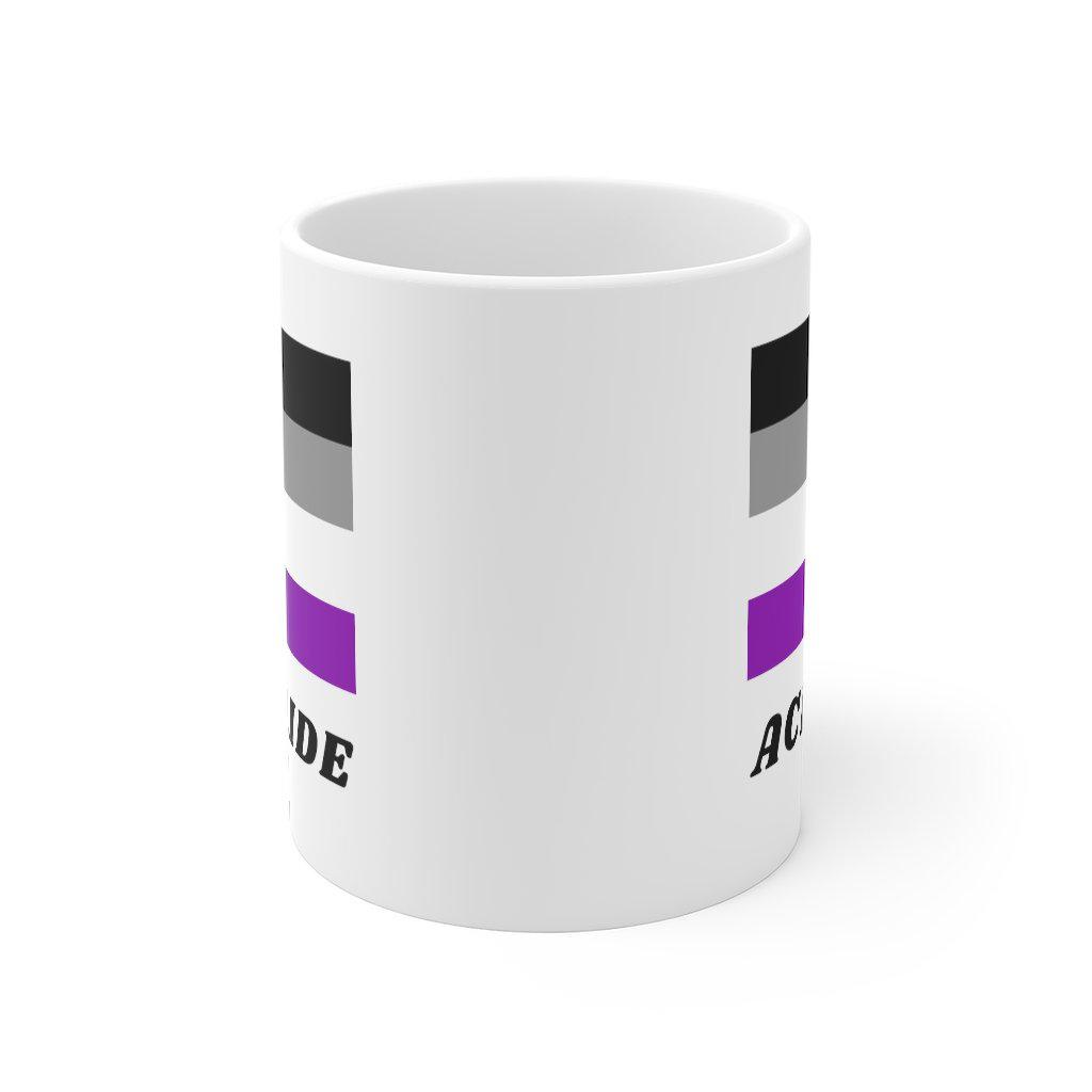 Ace pride in 11oz, white ceramic featuring the asexual flag design from Rainbow Rave Shop.