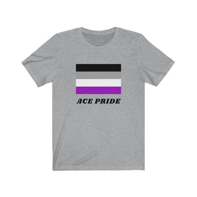 Asexual Pride Shirts featuring the ace pride flag. Grey teeshirt with a unisex fit from Rainbow Rave Shop.