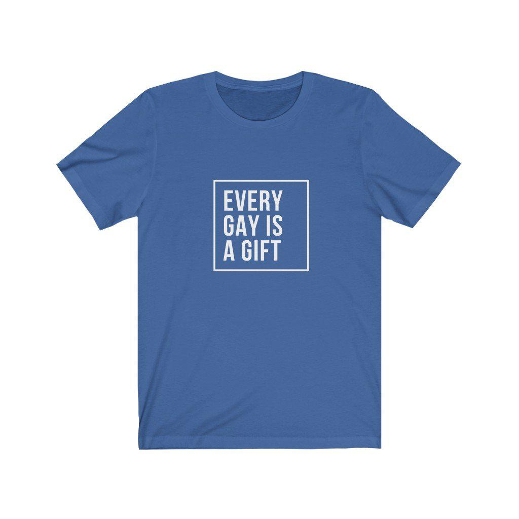 Gay pride shirt featuring a mighty message. The 'Every Gay is a Gift' gay pride shirt from Rainbow Rave Shop. Blue shirt with black lettering.