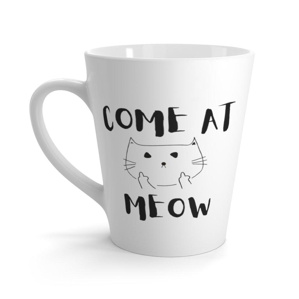 Funny Cat Mug with the phrase 'Come At Meow' designed by Rainbow Rave Shop features 12oz latte coffee mug with a fierce cat and two middle paws loud and proud!