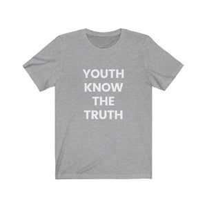 Inspirational t shirt 'Youth Know the Truth' from Rainbow Rave Shop. Grey tee shirt with white writing.