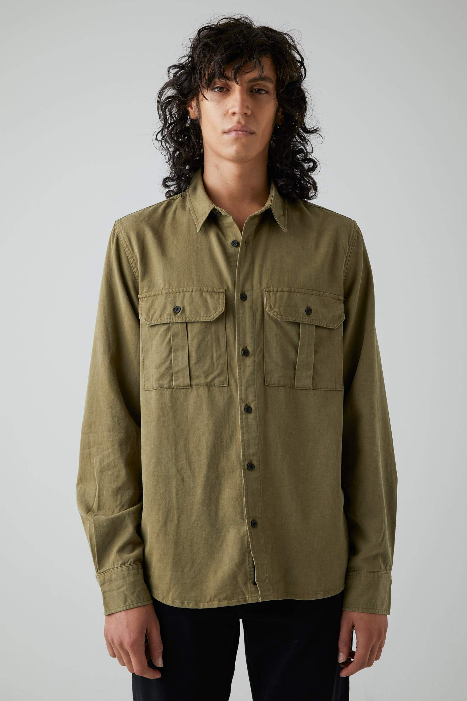 Workwear Twill Ls - Washed Military