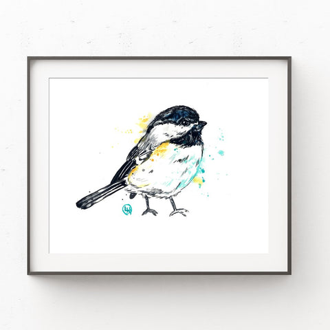 Whitehouse Art - Chickadee Colourful Watercolour