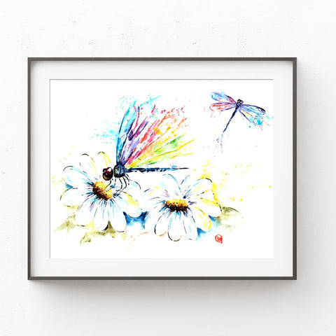 Whitehouse Art - Dragonfly Colourful Watercolour