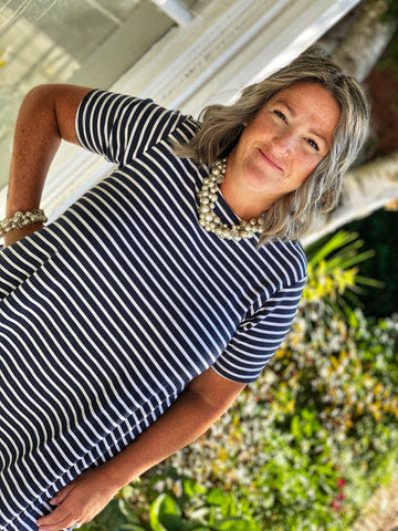 Blondie Apparel - Short Sleeve Striped Riverbend Tunic