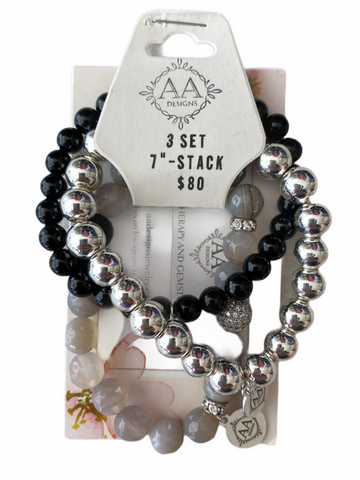 AA Designs - Agate & Lava Set of 3 Stacker