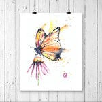 Whitehouse Art - Monarch Butterfly Colourful Watercolour