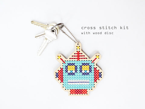 Diana Watters - Robot Robby Keychain and Backpacker Cross Stitch Kit