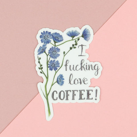 Naughty Florals - Coffee Lover Vinyl Sticker