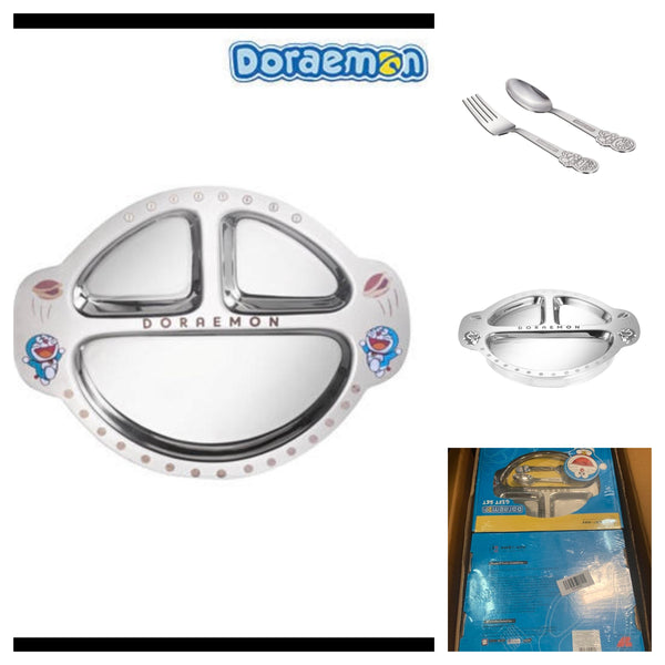 Doraemon plate with spoon & fork