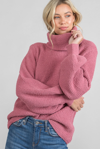 Solid Turtleneck Sweater - Winter Rose