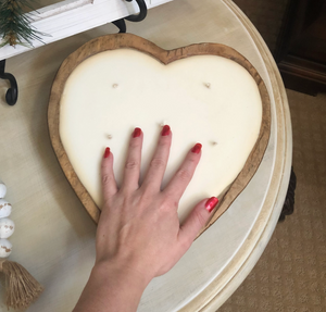 6 Wick Heart Shaped Dough Bowl Candle