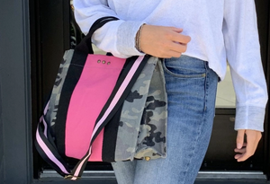 Zoey Canvas Crossbody Tote - camo with pink
