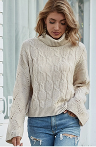 Cozy Perfection Ribbed Cowl Necked Sweater-Beige