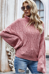 Cozy Perfection Ribbed Cowl Necked Sweater-Blush