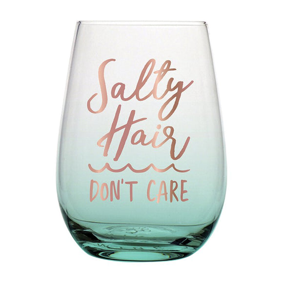 Salty Hair Don't Care Wine Glass