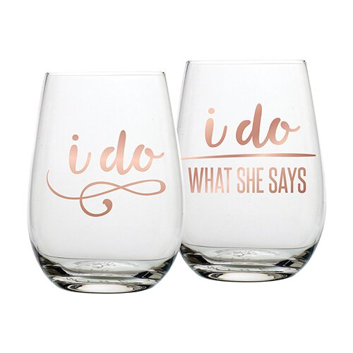 Husband Wife Wine Glass Set I Do, I Do What She Says