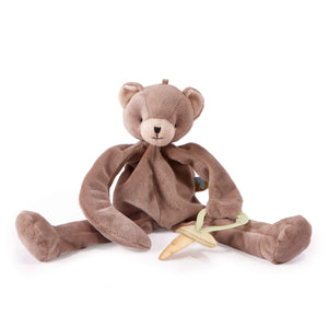 Silly Buddy Pacifier Holder in Brown Cubby Bear by Bunnies by the Bay