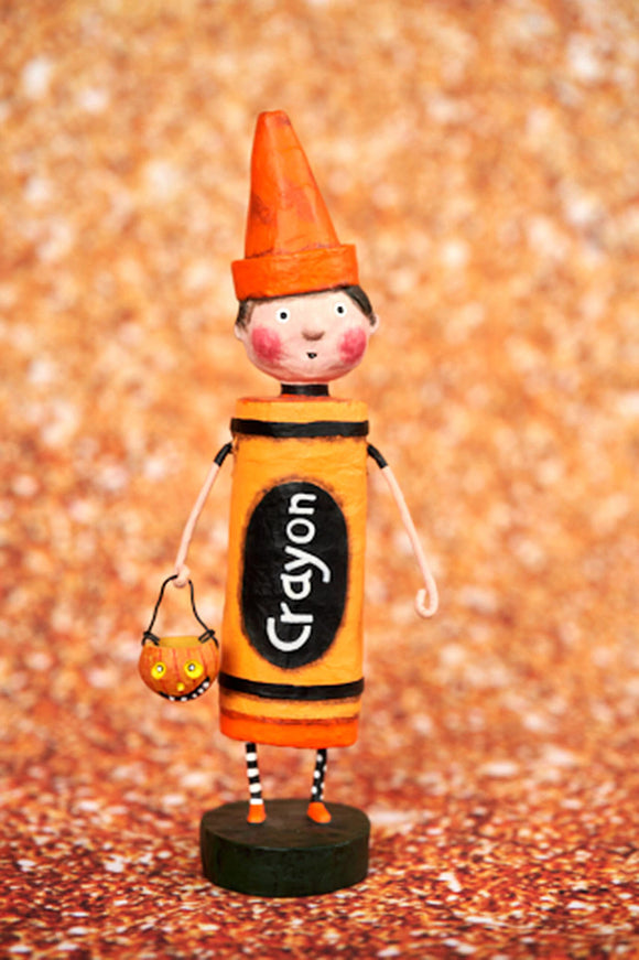 Orange Crayon Halloween Trick or Treater by Lori Mitchell