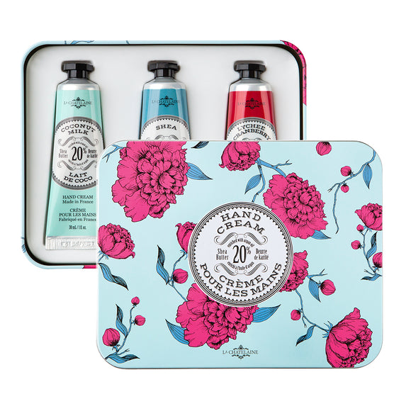 La Chatelaine Shea Butter Lotion Trio Aqua Tin