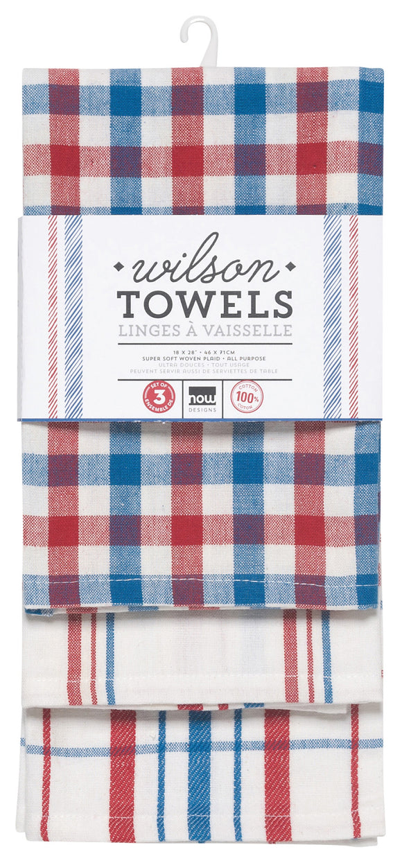 Danica Studio Set of 3 Red and Blue Wilson Cotton Dishtowels