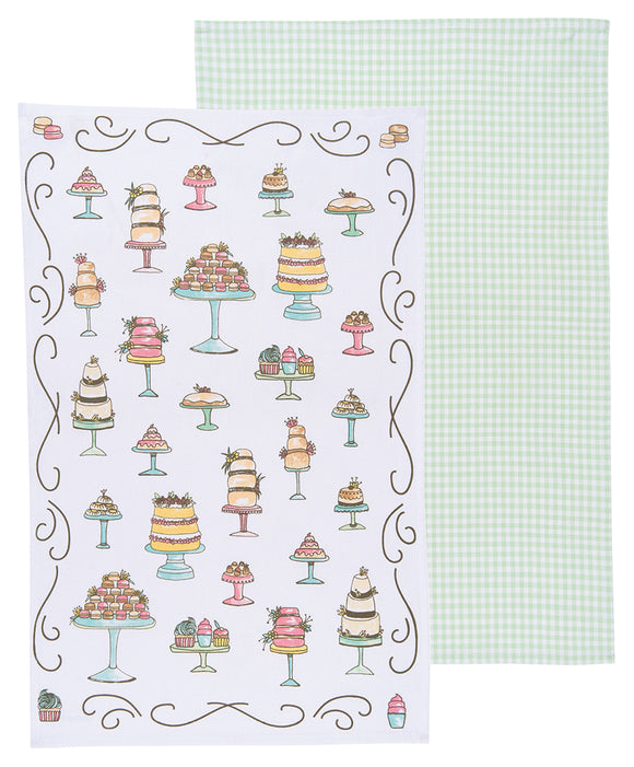 Cakes and Gingham set of 2 Tea Towels