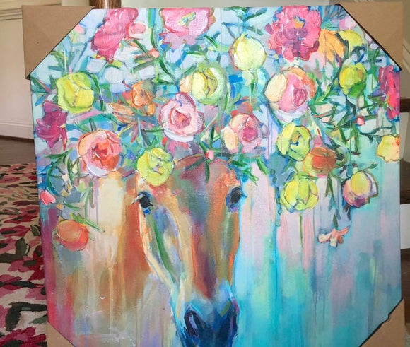Horse with Flowers Canvas Art