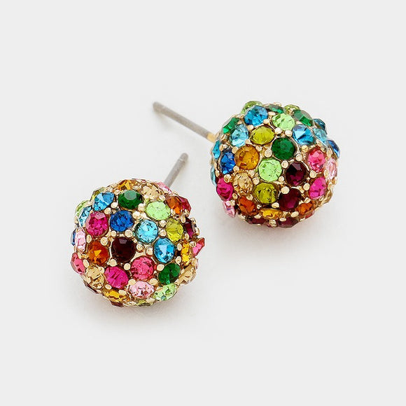 Rhinestone Pave Disco Ball Earrings Multi Colors