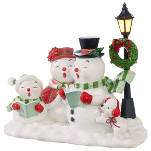 "9.5"" Caroling Snowmen with Lighted Lamppost"